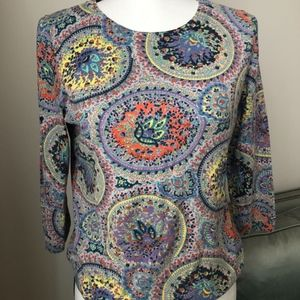 Talbots Fun and Colorful Patterned Top